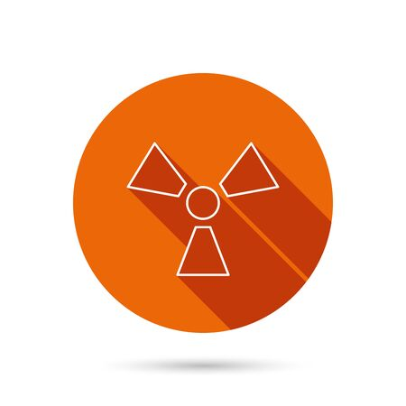 radiology: Radiation icon. Radiology sign. Round orange web button with shadow. Illustration