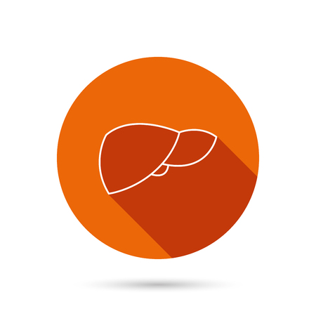 liver failure: Liver icon. Transplantation organ sign. Medical hepathology symbol. Round orange web button with shadow.