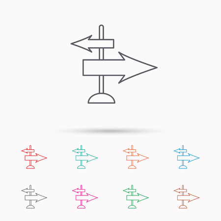 travel guide: Direction arrows icon. Destination way sign. Travel guide symbol. Linear icons on white background.