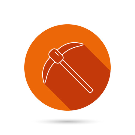 pickaxe: Mining tool icon. Pickaxe equipment sign. Minerals industry symbol. Round orange web button with shadow.