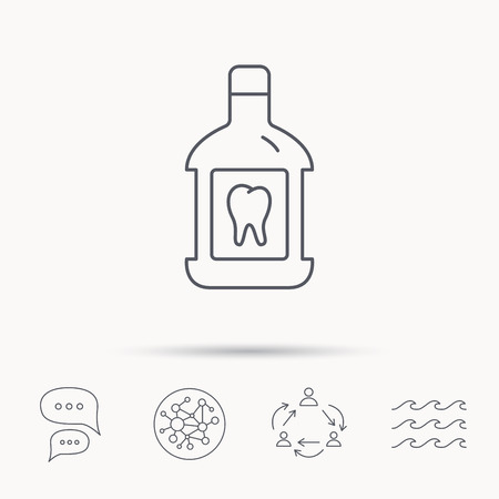 antibacterial: Mouthwash icon. Oral antibacterial liquid sign. Global connect network, ocean wave and chat dialog icons. Teamwork symbol.