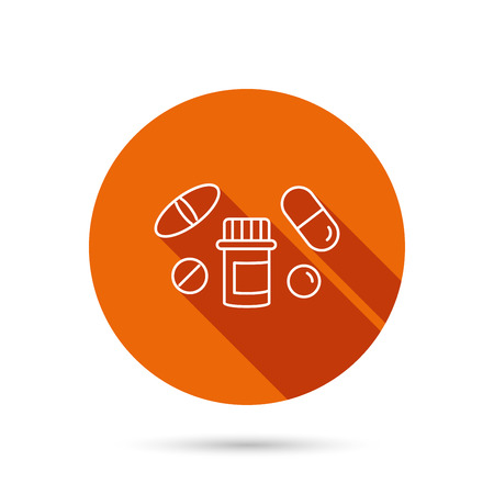 a tablet blister: Pills icon. Pharmacy bottle sign. Medical drugs symbol. Round orange web button with shadow.