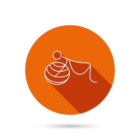 breathing exercise: Gymnastic for pregnant icon. Pilates fitness sign. Sport workout symbol. Round orange web button with shadow.