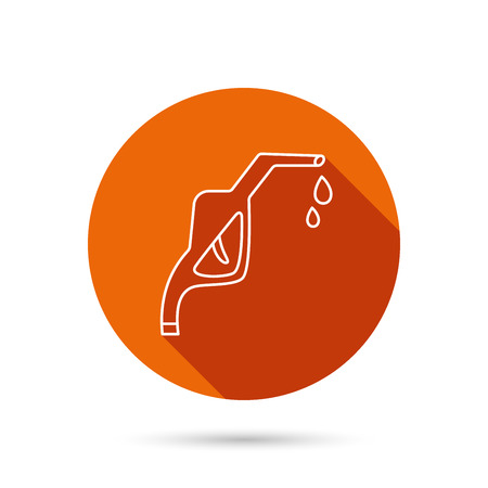nozzle: Gasoline pump nozzle icon. Gas or Petrol station sign. Round orange web button with shadow.