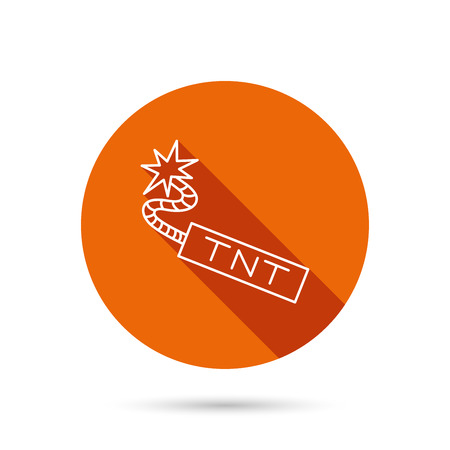 tnt: TNT dynamite icon. Bomb explosion sign. Round orange web button with shadow.