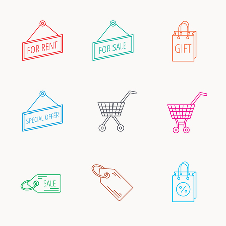 sell out: Shopping cart, gift bag and sale coupon icons. Special offer label linear signs. Discount icon. Linear colored icons.