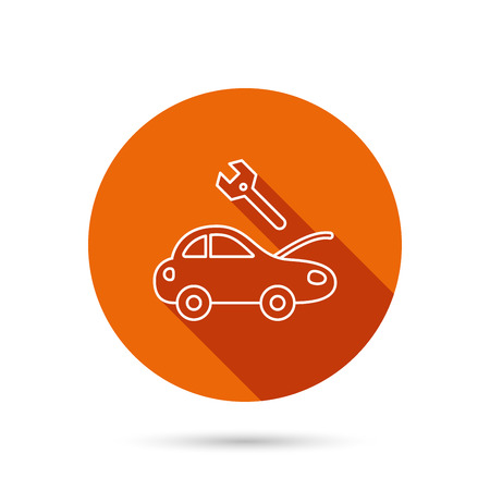 refit: Car service icon. Transport repair with wrench key sign. Round orange web button with shadow.