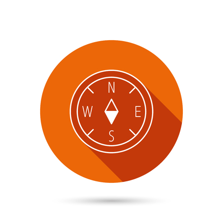 geographical: Compass navigation icon. Geographical orientation sign Round orange web button with shadow.