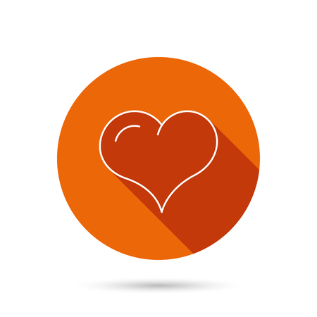 february 1: Love heart icon. Life sign. Round orange web button with shadow.