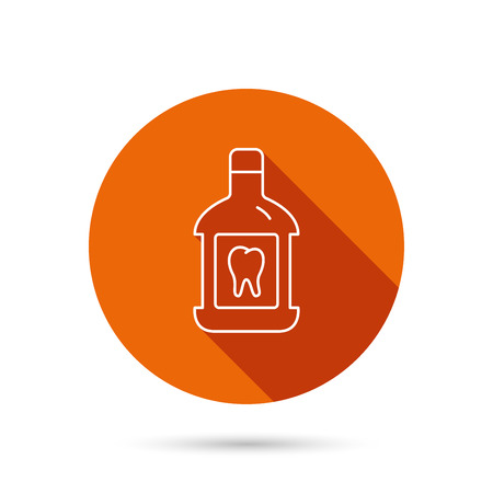 antibacterial: Mouthwash icon. Oral antibacterial liquid sign. Round orange web button with shadow. Illustration