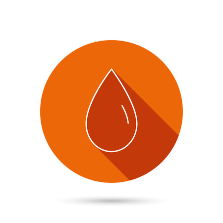 washing symbol: Water drop icon. Liquid sign. Freshness, condensation or washing symbol. Round orange web button with shadow.