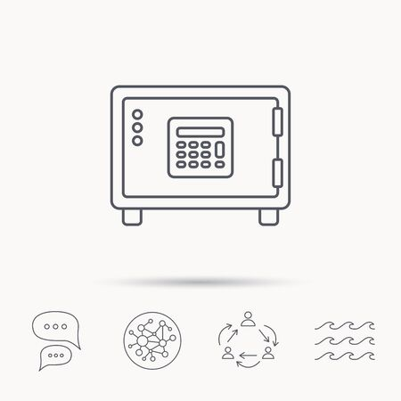 combination lock: Safe icon. Money deposit sign. Combination lock symbol. Global connect network, ocean wave and chat dialog icons. Teamwork symbol. Illustration