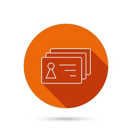 sign holder: Contact cards icon. Identification badges sign. Identity holder symbol. Round orange web button with shadow.