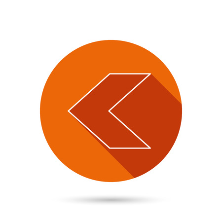 Back arrow icon. Previous sign. Left direction symbol. Round orange web button with shadow.