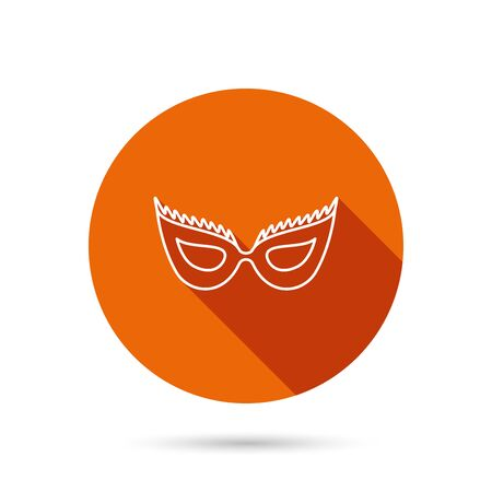 round button: Festive mask icon. Masquerade carnival sign. Anonymous symbol. Round orange web button with shadow. Illustration