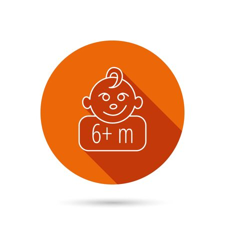 six months: Baby face icon. Newborn child sign. Use of six months and plus symbol. Round orange web button with shadow. Illustration