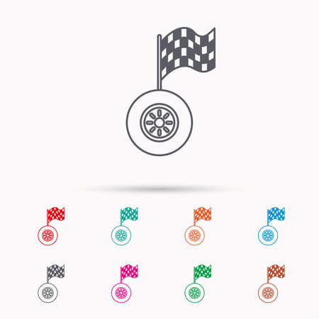 racing sign: Race icon. Wheel with racing flag sign. Linear icons on white background. Illustration