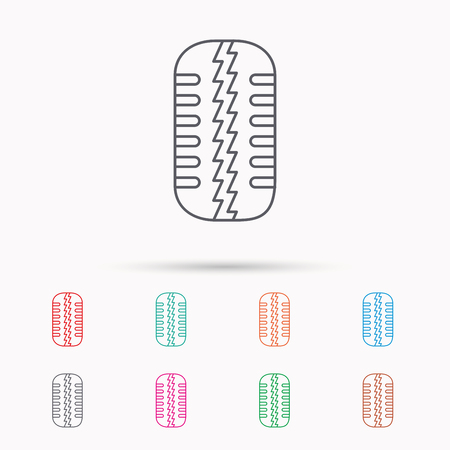 car tire: Tire tread icon. Car wheel sign. Linear icons on white background.
