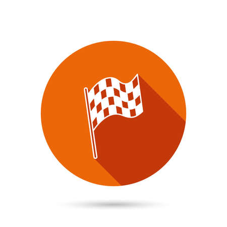 winning location: Finish flag icon. Start race sign. Round orange web button with shadow.