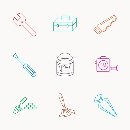 nippers: Wrench key, screwdriver and paint brush icons. Toolbox, nippers and saw linear signs. Finishing spatula icon. Linear colored icons. Illustration