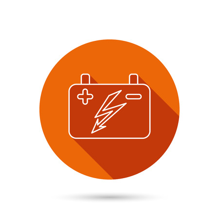 emitter: Accumulator icon. Electrical battery sign. Round orange web button with shadow. Illustration