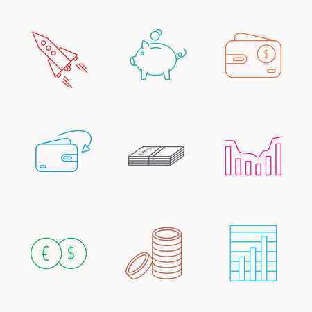 deceleration: Piggy bank, cash money and startup rocket icons. Wallet, currency exchange and dollar usd linear signs. Chart, coins and dynamics icons. Linear colored icons.