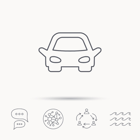 overhaul: Car icon. Auto transport sign. Global connect network, ocean wave and chat dialog icons. Teamwork symbol.