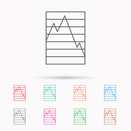 demand: Chart curve icon. Graph diagram sign. Demand reduction symbol. Linear icons on white background.