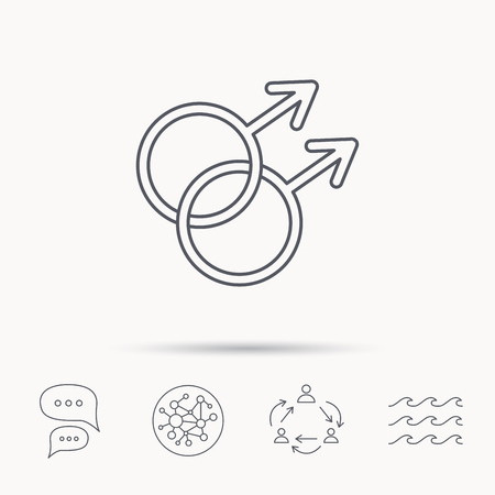 Gay couple icon. Homosexual sign. Global connect network, ocean wave and chat dialog icons. Teamwork symbol. Illustration