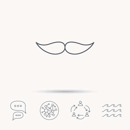 gent: Mustache icon. Hipster symbol. Gentleman sign. Global connect network, ocean wave and chat dialog icons. Teamwork symbol. Illustration