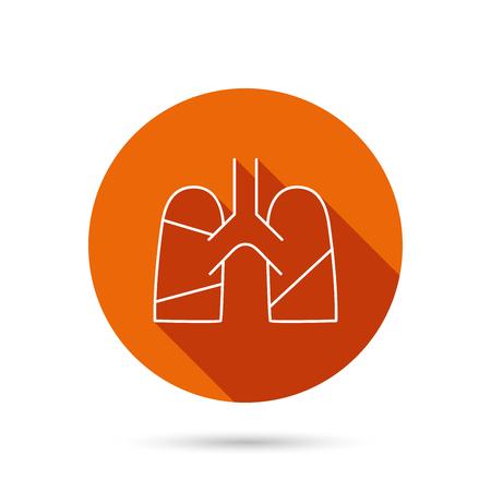 pulmology: Lungs icon. Transplantation organ sign. Pulmology symbol. Round orange web button with shadow.