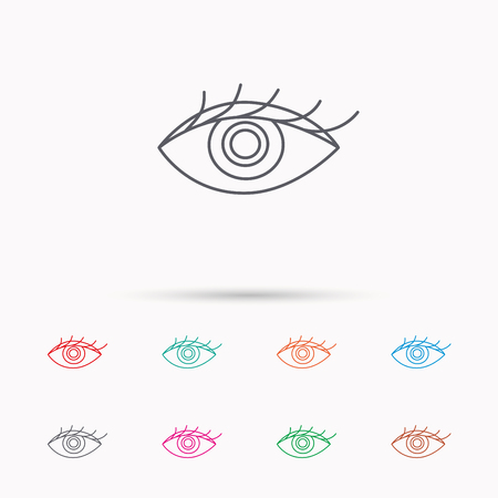 ophthalmology: Eye icon. Human vision sign. Ophthalmology symbol. Linear icons on white background.