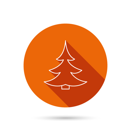 fir tree: Christmas fir tree icon. Spruce sign. Winter forest symbol. Round orange web button with shadow.