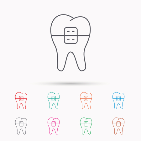 dental braces: Dental braces icon. Tooth healthcare sign. Orthodontic symbol. Linear icons on white background. Illustration