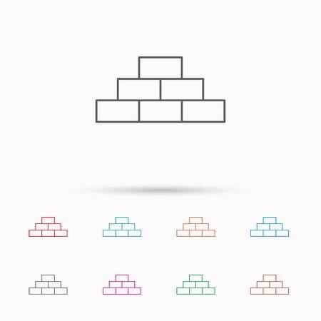brickwork: Brickwork icon. Brick construction sign. Linear icons on white background.