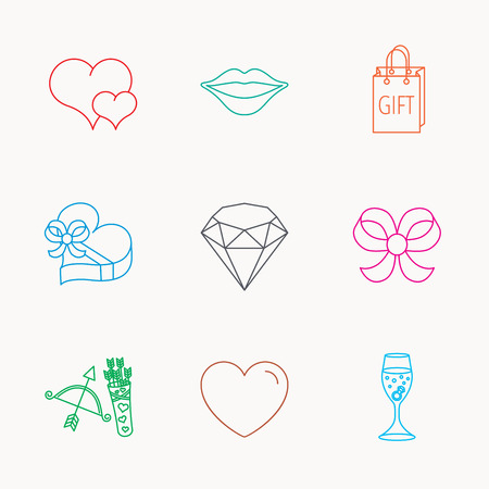 amour: Love heart, brilliant and engagement ring icons. Bow, smile and gift box linear signs. Valentine amour arrows flat line icons. Linear colored icons.