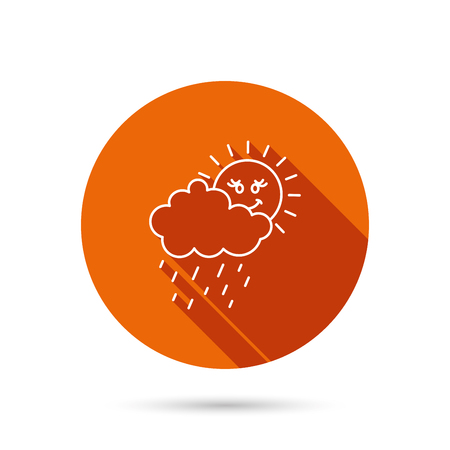 overcast: Rain and sun icon. Water drops and cloud sign. Rainy overcast day symbol. Round orange web button with shadow.