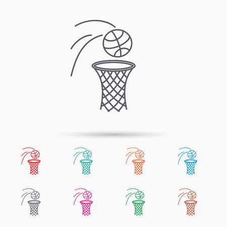 professional sport: Basketball icon. Basket with ball sign. Professional sport equipment symbol. Linear icons on white background.