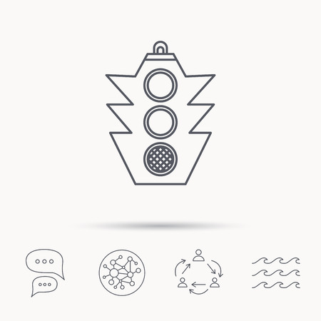 regulate: Traffic light icon. Safety direction regulate sign. Global connect network, ocean wave and chat dialog icons. Teamwork symbol. Illustration