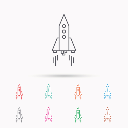 startup: Rocket icon. Startup business sign. Spaceship shuttle symbol. Linear icons on white background. Illustration