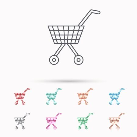 dealings: Shopping cart icon. Market buying sign. Linear icons on white background. Illustration