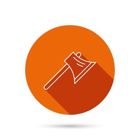 steel worker: Axe icon. Worker equipment sign. Steel weapon symbol. Round orange web button with shadow.