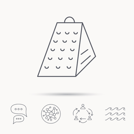 grated cheese: Grater icon. Kitchen tool sign. Kitchenware slicer symbol. Global connect network, ocean wave and chat dialog icons. Teamwork symbol.