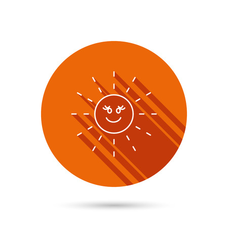 hot weather: Sun rays icon. Summer sign. Hot weather symbol. Round orange web button with shadow.