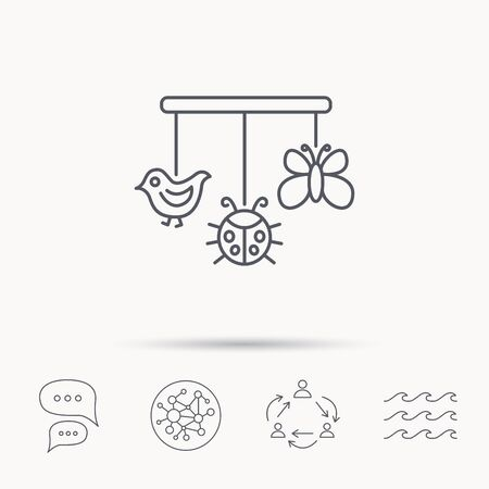 baby toys: Baby toys icon. Butterfly, ladybug and bird sign. Entertainment for newborn symbol. Global connect network, ocean wave and chat dialog icons. Teamwork symbol. Illustration