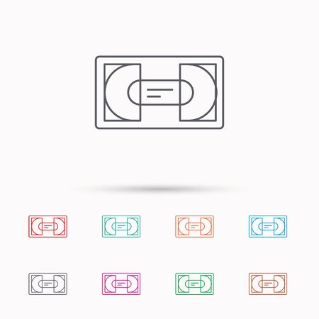 video cassette tape: Video cassette icon. VHS tape sign. Linear icons on white background.