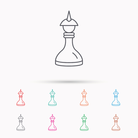 mind game: Strategy icon. Chess queen or king sign. Mind game symbol. Linear icons on white background. Illustration