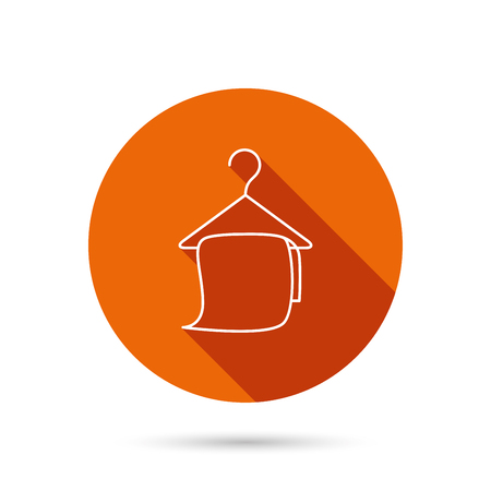 cleaning bathroom: Bath towel icon. Cleaning service sign. Bathroom hanger symbol. Round orange web button with shadow.