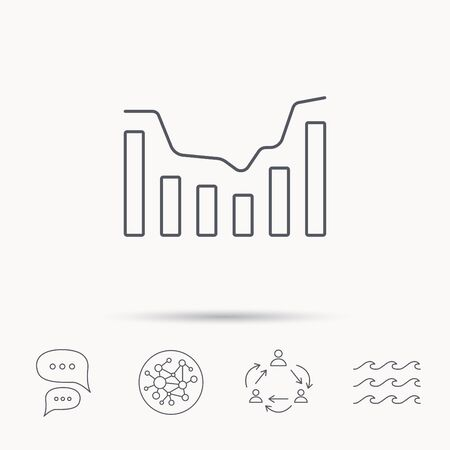infochart: Dynamics icon. Statistic chart sign. Growth infochart symbol. Global connect network, ocean wave and chat dialog icons. Teamwork symbol.