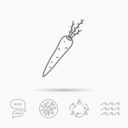 scrumptious: Carrot icon. Vegetarian food sign. Natural vegetable symbol. Global connect network, ocean wave and chat dialog icons. Teamwork symbol.